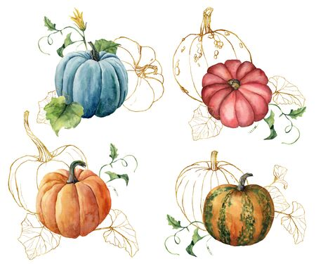 Watercolor composition with golden gourds. Hand painted red, blue, orange pumpkins and leaves isolated on white background. Autumn festival. Botanical illustration for design, print or background.
