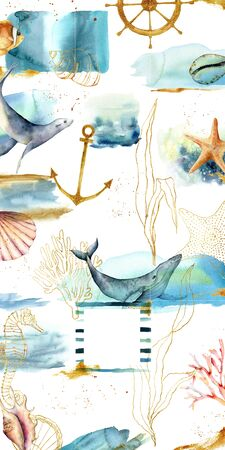 Design backgrounds for social media banner with sea animals, textures and plants. Stock Photo