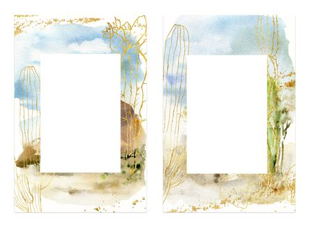 Watercolor desert cards with plants. Hand painted beautiful frame with sky and golden plants isolated on white background. Desert llustration for design, print, fabric or background. Stock Photo