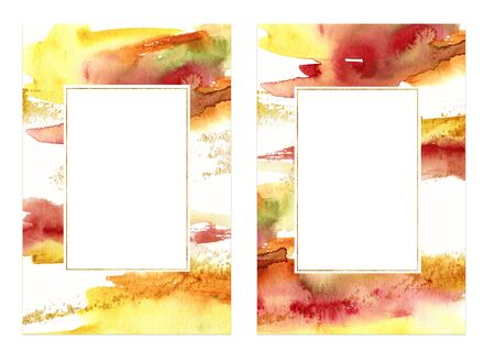 Watercolor autumn theme frame. Hand painted abstract cards template isolated on white background. Fall illustration for autumn festival, print or background.