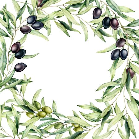 Watercolor border with green and black olive berries and branch. Hand painted botanical card with olives isolated on white background. Floral illustration for design, print, fabric or background. 写真素材 - 128613333