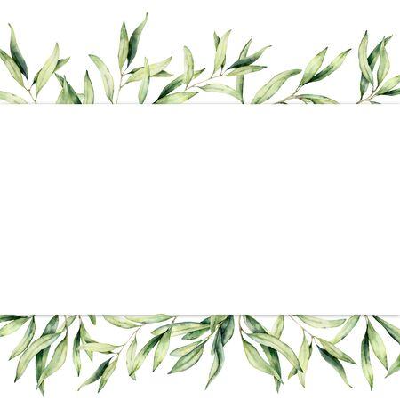Aquarellbanner mit Olivenzweig. Handgemalte botanische Grenze lokalisiert auf weißem Hintergrund. Blumenillustration für Design, Druck, Stoff oder Hintergrund.