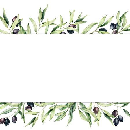 Watercolor border with black olive berries and branch. Hand painted botanical banner with olives isolated on white background. Floral illustration for design, print, fabric or background.