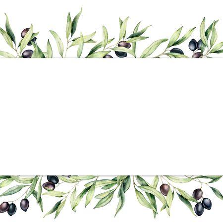 Aquarellgrenze mit schwarzen Olivenbeeren und Zweig. Handgemaltes botanisches Banner mit Oliven auf weißem Hintergrund. Blumenillustration für Design, Druck, Stoff oder Hintergrund.