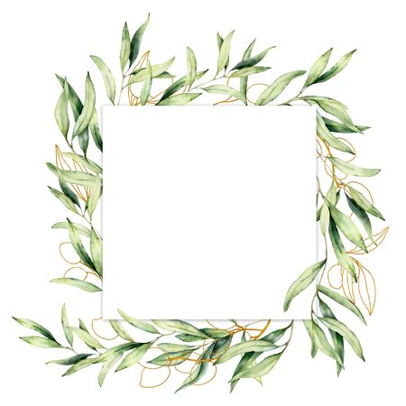 Watercolor border with golden olive berries and branch. Hand painted botanical card isolated on white background. Floral illustration for design, print, fabric or background. 写真素材 - 128613338