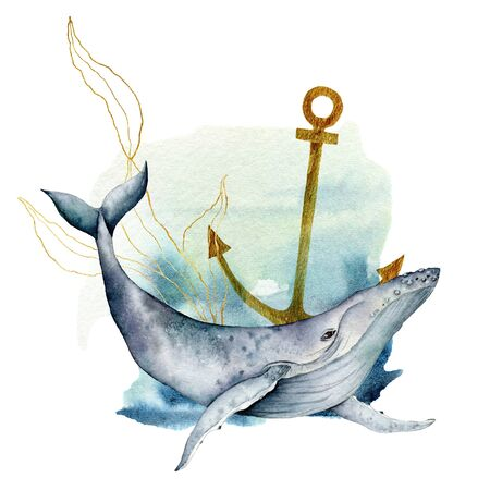 Watercolor underwater card with blue whale. Hand painted composition with anchor and golden laminaria isolated on white background. Line art illustration for design, fabric prints or background. Stock Photo