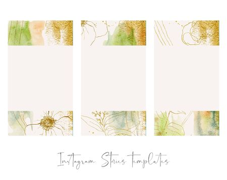 Design backgrounds for social media banner with abstract golden flowers and leaves. Set of  post frame templates. Mockup for beauty blog or sea theme. Layout for promotion.