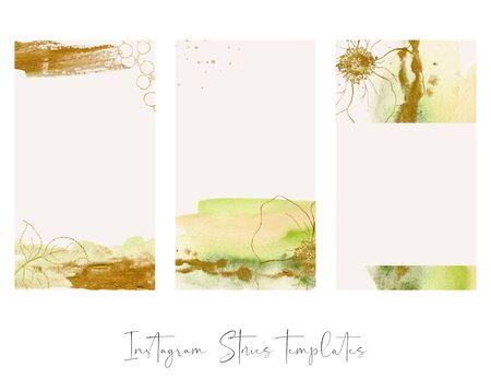 Design backgrounds for social media banner with abstract golden leaves and flowers. Set of  post frame templates. Mockup for beauty blog or sea theme. Layout for promotion. 写真素材 - 128613342