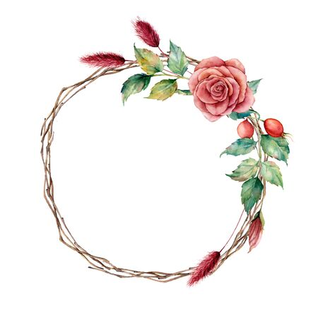 dogrose wreath. Hand painted tree border with dahlia, tree branch and leaves, lagurus isolated on white background. Illustration for design, fabric or background.