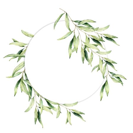 Watercolor olive leaves wreath. Hand painted floral circle border with olive tree branches with leaves isolated on white background. For design, print and fabric.