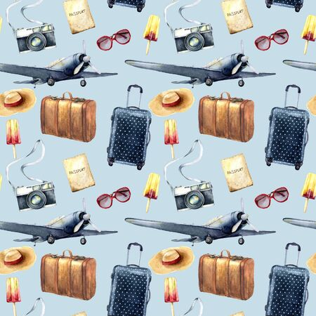 Watercolor travel seamless pattern. Hand painted tourist objects: plane, leather vintage suitcase, polka dot baggage, camera and sunglasses isolated on blue background. For design, print, background.