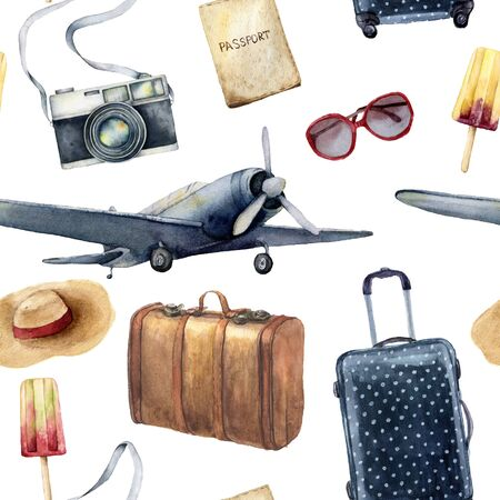 Watercolor travel seamless pattern with leather bag. Hand painted tourist objects: plane, polka dot baggage, camera and sunglasses isolated on white background. For design, print or background. 스톡 콘텐츠