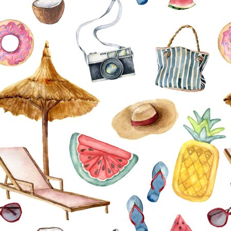 Watercolor vacation seamless pattern. Hand painted summer beach objects: sunglasses, beach umbrella, watermelonl, beach chair and straw hat. Illustration isolated on blue background.