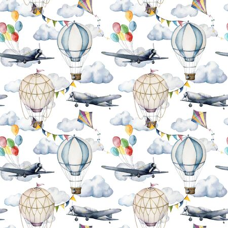 Watercolor seamless pattern with clouds and hot air balloons. Hand painted sky illustration with aerostates, planes and garlands isolated on white background. For design, prints, fabric or background. Stock Photo