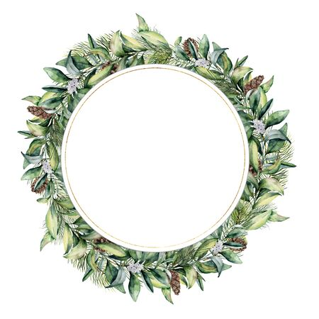Watercolor circle template with pine cone. Hand painted fir and eucalyptus leaves and branches isolated on white background. Christmas floral illustration for print, design or background.