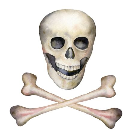 Watercolor halloween set with jolly roger. Hand painted holiday logo with scull and bone isolated on white background. Illustration for design, print or background.