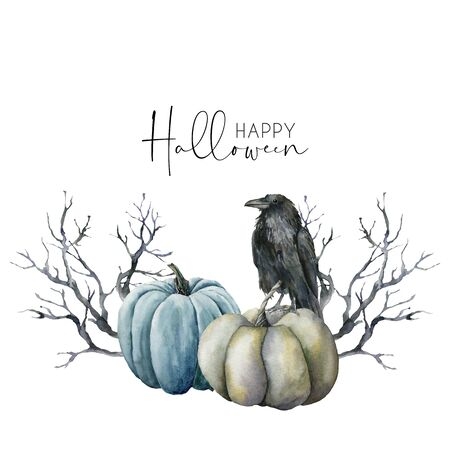 Watercolor halloween card with crow and pumpkins. Hand painted holiday template with gourds and black tree isolated on white background. Illustration for design, print or background.