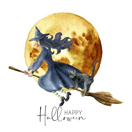 Watercolor halloween card with witch. Hand painted holiday template with cat and moon isolated on white background. Illustration for design, print or background.