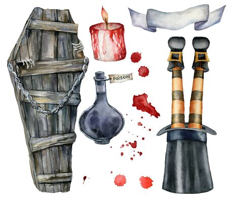 Watercolor halloween card with coffin and fleet witch. Hand painted holiday template with blood, lantern, poison and candle isolated on white background. Illustration for design, print or background.