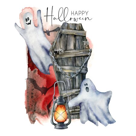 Watercolor halloween card with ghost and coffin. Hand painted holiday template with blood, bat and lantern isolated on white background. Illustration for design, print or background.