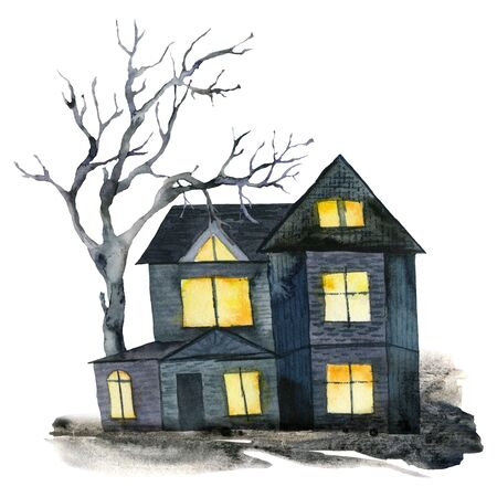 Watercolor halloween card with black house and tree. Hand painted holiday template with house and wood isolated on white background. Illustration for design, print or background.