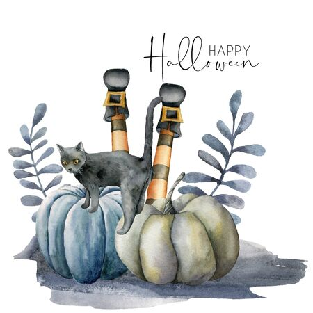 Watercolor halloween card with cat and pumpkins. Hand painted holiday template with gourds, tomcat and feet witch isolated on white background. Illustration for design, print or background. Banque d'images - 130031010