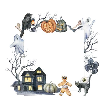 Watercolor card with halloween glowing symbols. Hand painted holiday template with house, pumpkins, crow, tree, ghost, cat isolated on white background. Illustration for design, print or background.