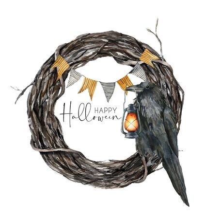 Watercolor halloween wreath with crow. Hand painted holiday template with flag garland and lantern isolated on white background. Illustration for design, print or background. Standard-Bild