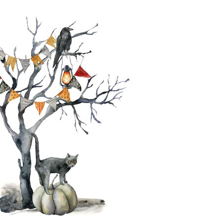 Watercolor halloween card with black tree and cat. Hand painted holiday template with crow, flag garlands, tomcat and pumpkin isolated on white background. Illustration for design, print, background.