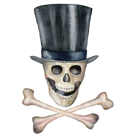 Watercolor halloween card with jolly roger and hat. Hand painted holiday template with skull and bone isolated on white background. Illustration for design, print or background.