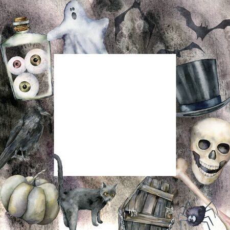 Watercolor card with halloween symbols. Hand painted holiday template with pumpkins, cat, bottle with eyes, skull and coffin isolated on gray background. Illustration for design, print or background. Banque d'images - 130031040