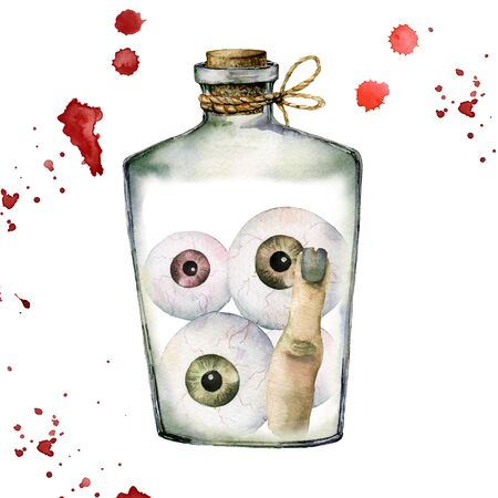 Watercolor halloween card with eyes and finger. Hand painted holiday template with bottle and blood isolated on white background. Illustration for design, print or background.