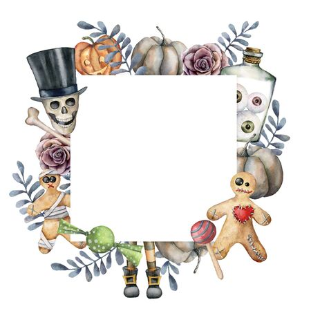 Watercolor halloween card with skull and cookie. Hand painted holiday template with pumpkins, leaves and bottle with eyes isolated on white background. Illustration for design, print or background. Zdjęcie Seryjne