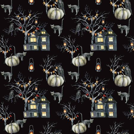 Watercolor seamless pattern with halloween symbols: house and tree. Hand painted holiday template with pumpkins and crow isolated on black background. Illustration for design, print or background. Banque d'images - 130031045