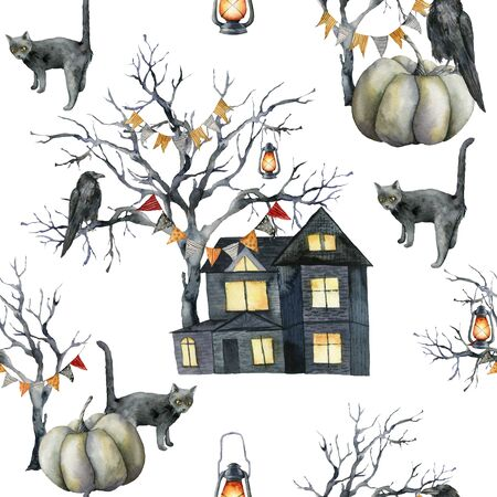 Watercolor seamless pattern with halloween symbols: house and crow. Hand painted holiday template with pumpkins and tree isolated on white background. Illustration for design, print or background. Zdjęcie Seryjne