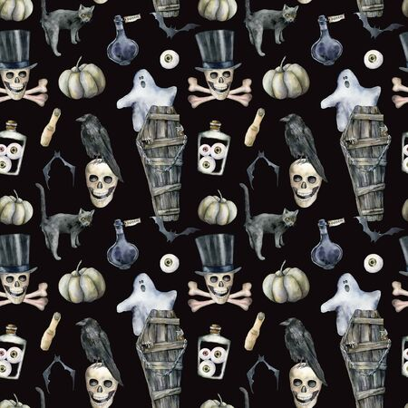 Watercolor seamless pattern with halloween symbols: coffin and ghost. Hand painted holiday template with skull, crow and cat isolated on black background. Illustration for design, print or background. Banque d'images - 130031048