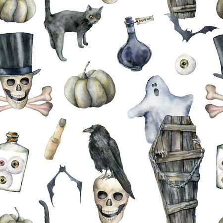 Watercolor seamless pattern with halloween symbols: ghost and coffin. Hand painted holiday template with skull, crow and cat isolated on white background. Illustration for design, print or background.