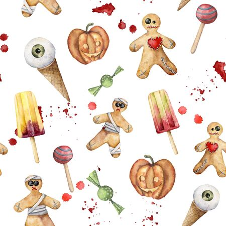 Watercolor helloween seamless pattern with desserts: cookie and ice cream. Hand painted template with candy and gourd isolated on white background. Holiday illustration for design, print, background. Zdjęcie Seryjne