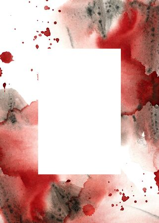Watercolor helloween vertical card with blood. Hand painted abstract frame with red and gray texture. Holiday illustration for design, print, fabric or background. Zdjęcie Seryjne