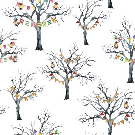 Watercolor halloween seamless pattern with flag garland and black tree. Hand painted holiday template with lantern and wood isolated on white background. Illustration for design, print or background.