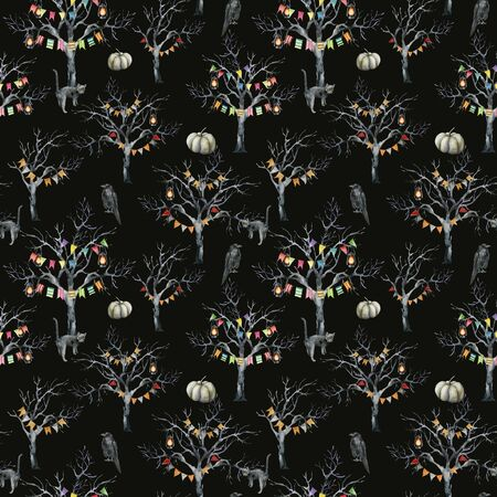Watercolor halloween seamless pattern with tree and cat. Hand painted holiday template with crow, lantern, pumpkin and wood isolated on black background. Illustration for design, print or background. Zdjęcie Seryjne