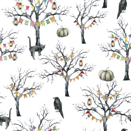 Watercolor halloween seamless pattern with tree and crow. Hand painted holiday template with cat, lantern, pumpkin and wood isolated on white background. Illustration for design, print or background.
