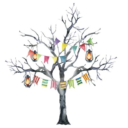 Watercolor halloween card with black tree and flag garland. Hand painted holiday template with burning lantern and wood isolated on white background. Illustration for design, print or background. Zdjęcie Seryjne