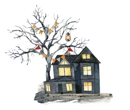 Watercolor halloween card with black tree and house. Hand painted holiday template with flag garlands, lantern and wood isolated on white background. Illustration for design, print or background.