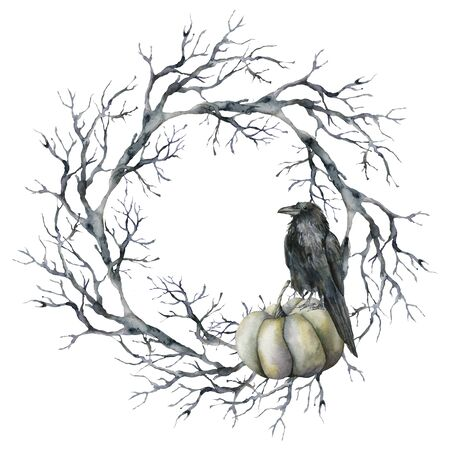 Watercolor halloween wreath with crow and pumpkin. Hand painted holiday template with tree branch, raven and gourd isolated on white background. Illustration for design, print or background.