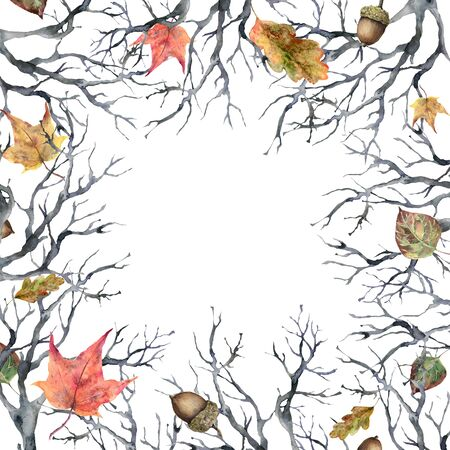 Watercolor autumn leaves frame. Hand painted oak tree branch and acorn isolated on white background. Floral illustration for design, print, fabric or background.