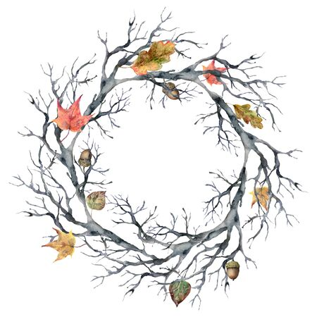 Watercolor autumn wreath with leaves. Hand painted fall template with tree branch isolated on white background. Illustration for design, print or background.