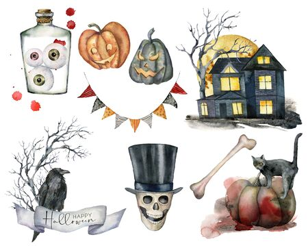 Watercolor halloween elements set. Hand painted holiday set with cat, pumpkin, house, tree, skull, garland, crow and eye isolated on white background. Illustration for design, print or background. Banque d'images - 132212974