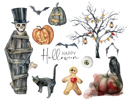 Watercolor halloween labels set. Hand painted holiday set with cat, pumpkin, coffin, bat, tree, skull, crow and eye isolated on white background. Illustration for design, print or background.