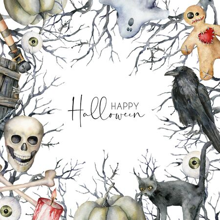 Watercolor Happy halloween card with symbols. Hand painted holiday template with coffin, skull, crow, tree, ghost and cat isolated on white background. Illustration for design, print or background. Banque d'images - 132212529
